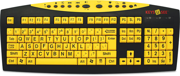 Keys-U-See Large Print Keyboards - žuta